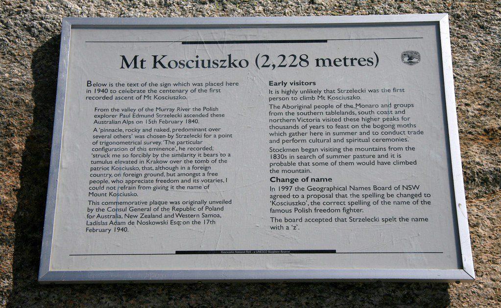 Mt Kosciuszko Information Plaque