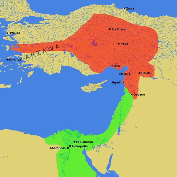 Hittite territory (red) and Egyptian territory (green)
