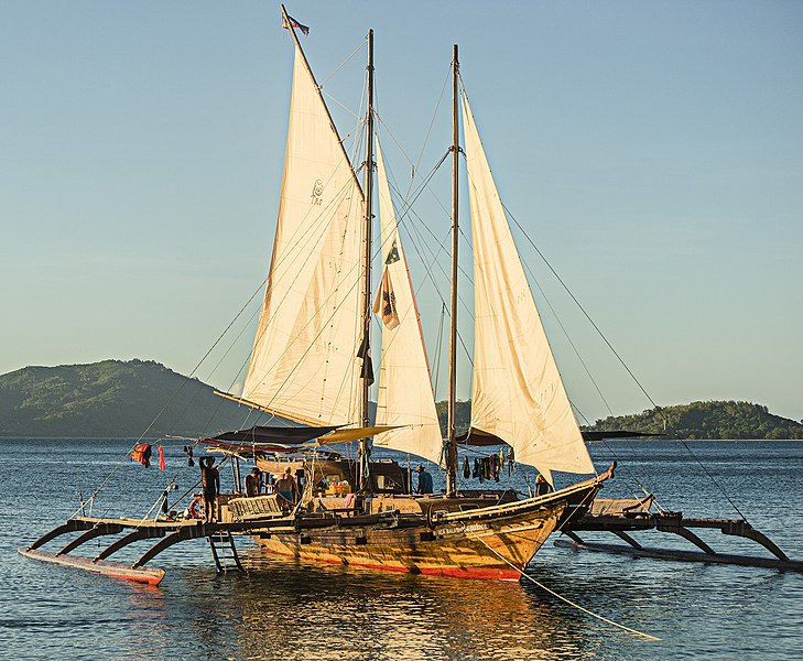 A replica of a traditional Austronesian sailing trimara