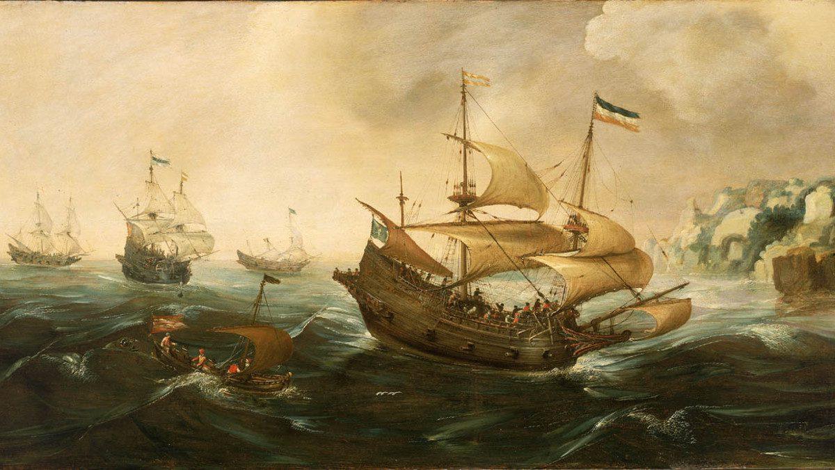Dutch Ships Sail Off a Rocky Shore