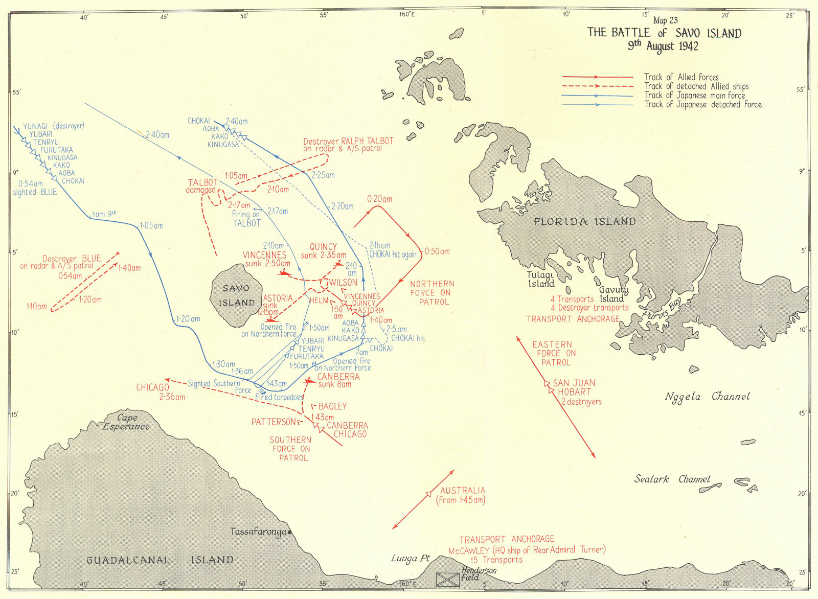 Map depicting the Battle of Savo Island