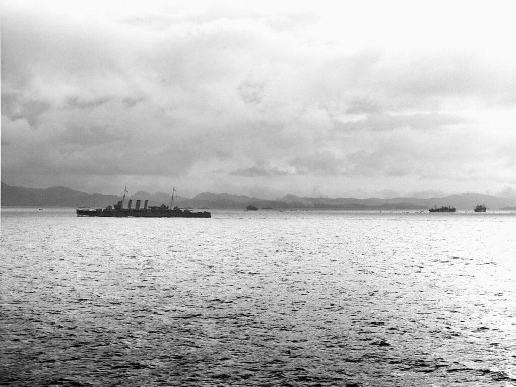 HMAS Canberra off Tulagi, protecting the transports