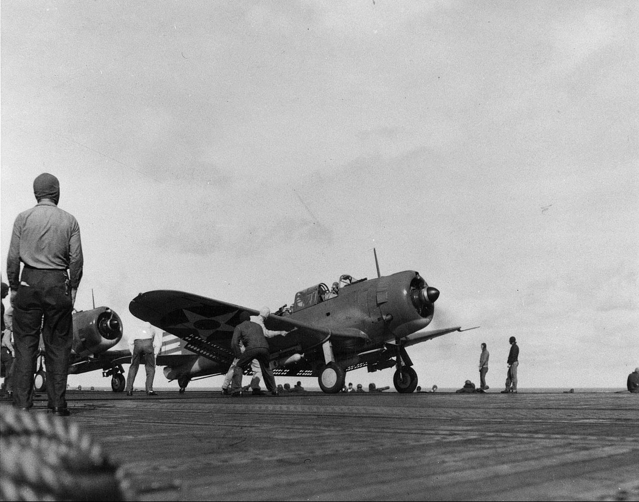 A bomb-laden SBD-2 Dauntless dive bomber prepares to take off from the U.S. carrier Enterprise during the raids on February 1.