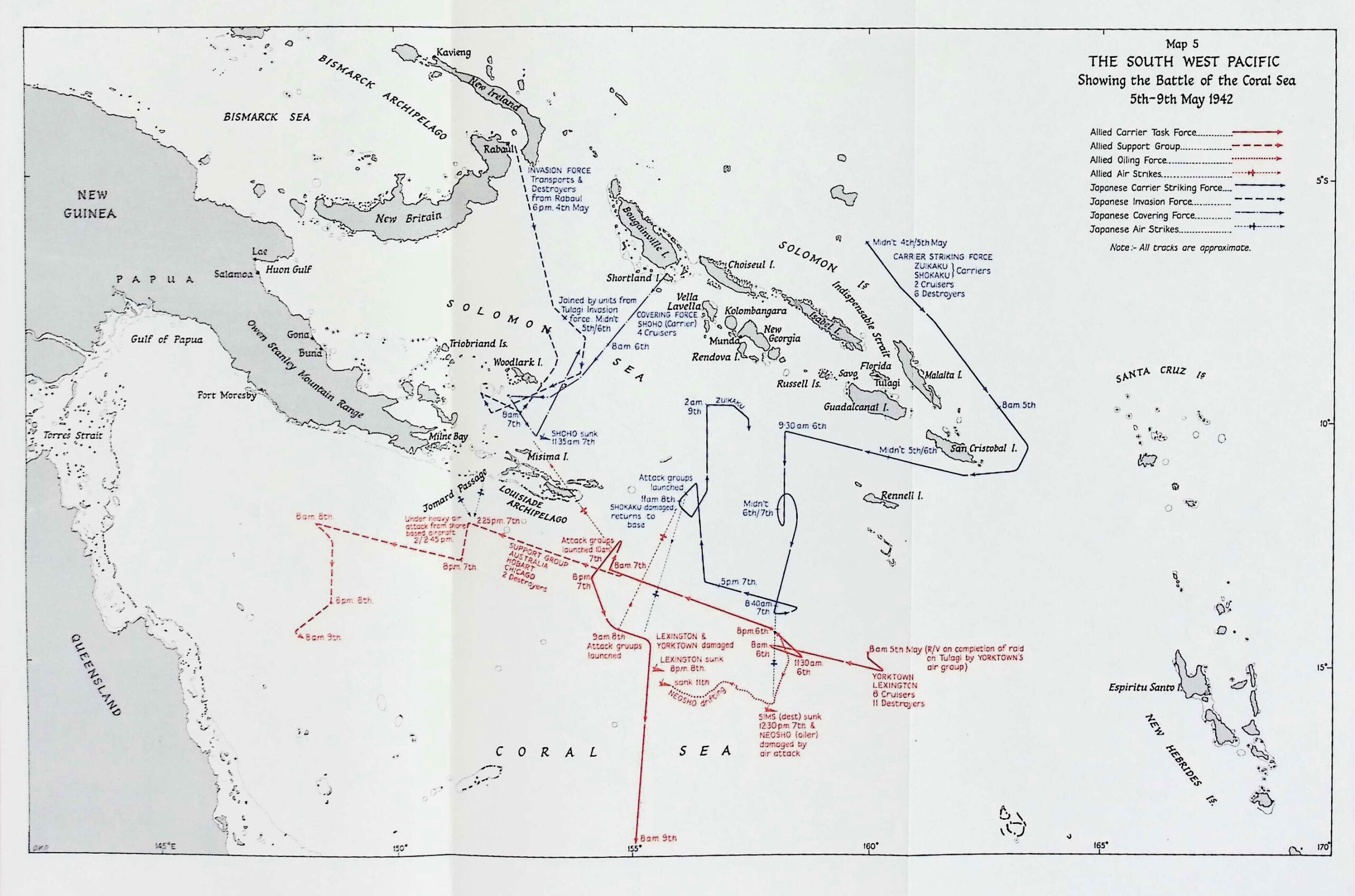 Map of the Battle of the Coral Sea. History Guild.