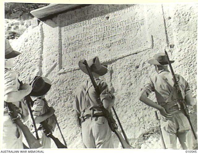 Dog River, Australian Troops examine stone tablets