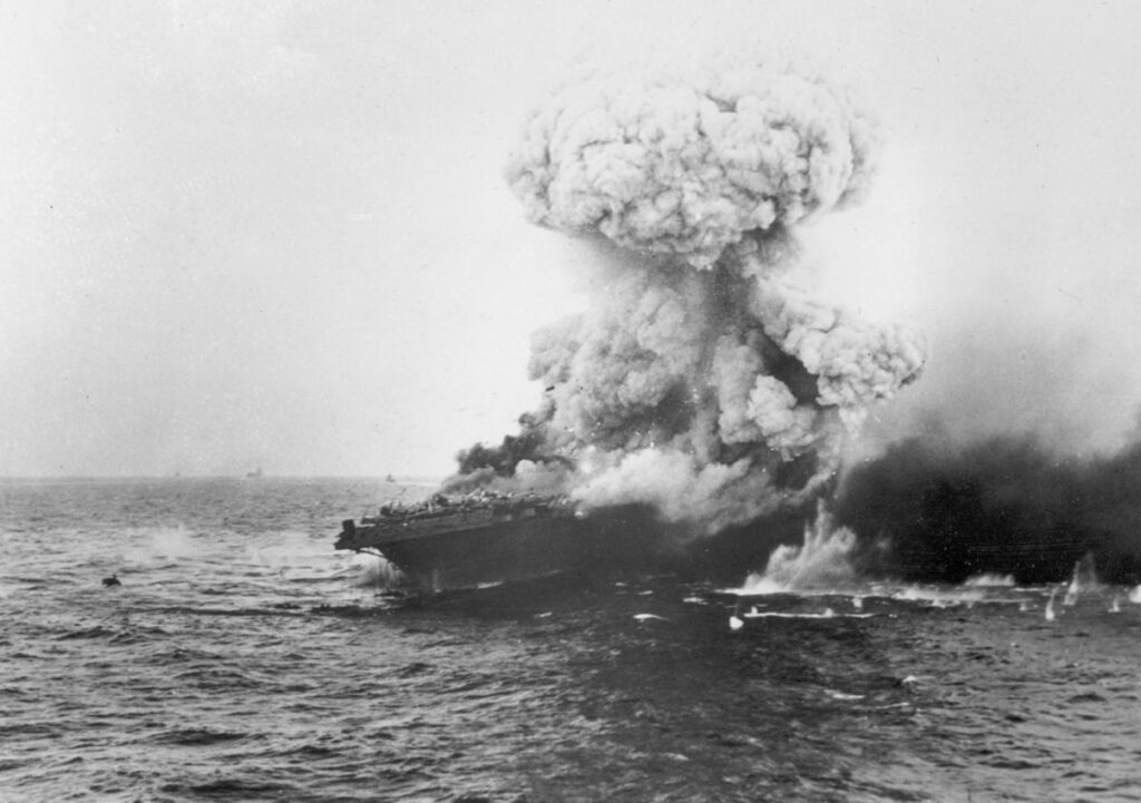 Large Explosion on USS Lexington at the Battle of the Coral Sea.