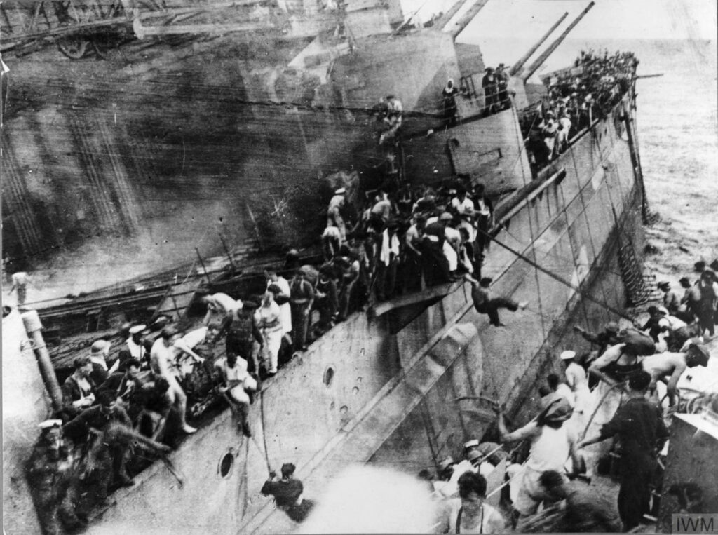 Sinking of the HMS Prince of Wales off Malaya, 1941. IWM.