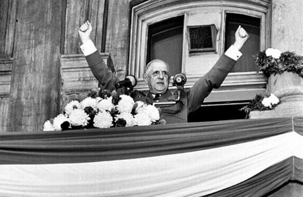 """French President Charles de Gaulle proclaimed """"Vive le Quebec Libre"""" during a visit to Montreal City Hall in 1967."""